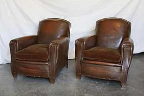 Royal Dark Nailed  Vintage French Leather Club Chairs