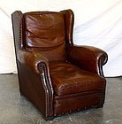 French leather Club Chair Dinan Wingback Solo