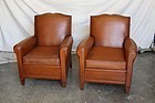 Bayeaux Mustache French Leather Club Chairs