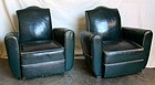 Emerald Deco French Leather Club Chairs