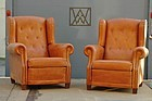 French Wingback Leather Club Chairs Buttonback