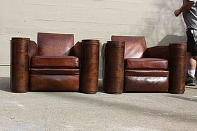 Deco French Rambouillet Club Chair pair circa 1930's