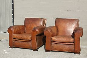 Degaulle Lounge pair of French Club chairs Original Leather