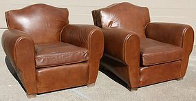 Amiens Giant Gendarme French leather Club Chairs pair