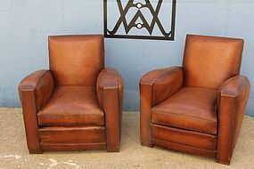 Belfort Library Square pair of French leather Club chairs