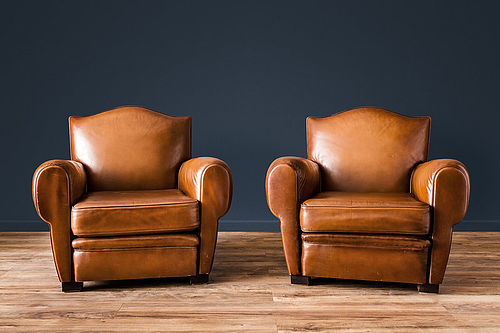 Rennes Gendarme French leather Club chairs