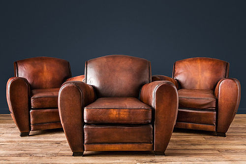 Streamline Dark Chocolate French leather Club Chairs