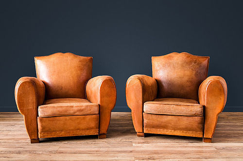 Belfort Mustache French leather Club chairs