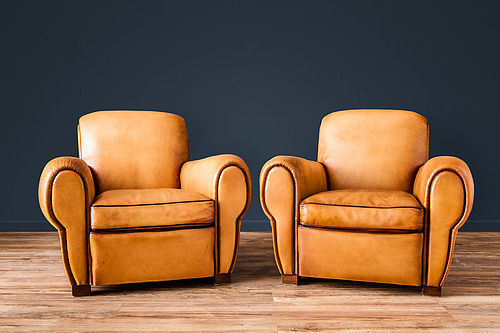 Evereux Rollback French leather Club chairs