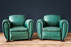 Erton Green Deco French leather Club chairs