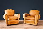 Josselin Gendarme French leather Club chairs