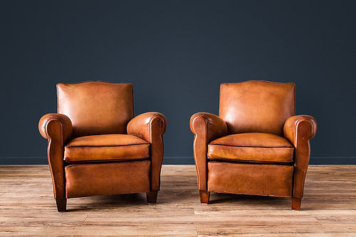 Clichy Petite Mustache French leather Club chairs