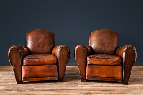 Brest Rollback Fonce French leather Club chairs