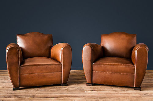 Gendarme Le Havre French leather Club chairs