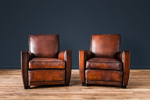 Paris Dark Square French leather Club chairs