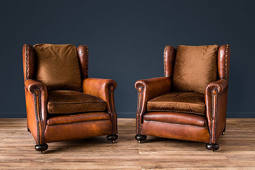 La Manche Wingback French Club Chairs