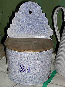 French Enamelware Salt Box Blue Splatter