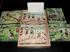 Antique French Picture Puzzle Blocks 1920's