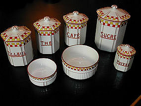 French Canister Series Red Yellow Check Charming!