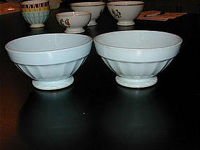 Pair of Cafe au Lait Bowls from France Baby Blue