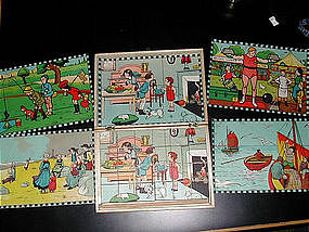 Antique French Picture Puzzle Blocks 1920's-30's