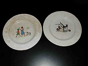 Pair of Vintage French Plates with Children & Animals