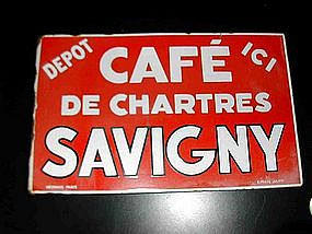 Vintage French Enamel Sign Cafe Chartres Double Sided