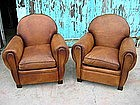 French Leather Club Chairs  - Large Roundback Pair