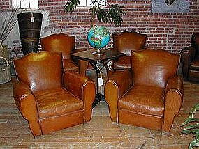 Vintage French Leather Club Chairs Four Moustache Back