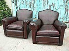 French Leather Club Chairs  - Dark Crownback Pair