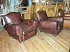 Refurbished French Leather Club Chairs Gendarme Pair