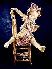 Viennese Cold Painted Bronze Girl with Kittens