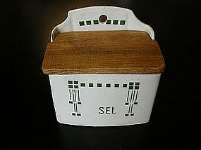 Vintage French Ceramic Saltbox Green & White