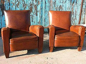 Vintage French Club Chairs - Baby Square Pair