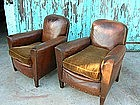 Vintage French Leather Club Chairs Ghislan Nailed Pair