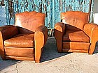 Vintage French Leather Club Chairs - Giant Moustache
