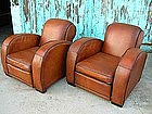French Leather Club Chairs - Refurbished Pascal Deco
