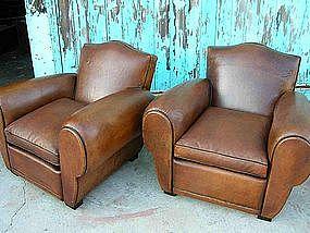 Refurbished French Leather Club Chairs - Bamba Gendarme