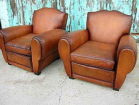 French Leather Club Chairs Classic Cognac Moustache