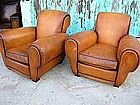 French Leather Club Chairs Giant Pascal Rollback Pair