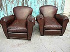 French Leather Club Chairs Restored Serpette Heart Pair