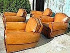 French Leather Club Chairs 4 Double Back Gendarme