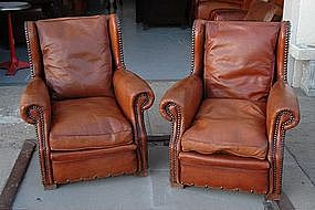 Vintage French Club Chairs Petite Normandie Wingbacks