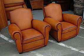 Restored French Club Chairs Rouen Caramel Gendarme Pair