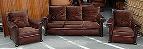Vintage French Club Chair Couch Set 1930's Nailed Salon