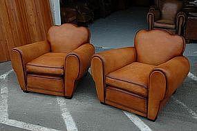 French Club Chairs Restored Armangnac Cloverback Pair