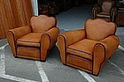 French Club Chairs Restored Armangnac Cloverback Pair