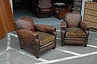 Vintage French Club Chairs Bambino Nail Head Pair