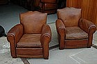Vintage French Club Chairs Left Bank Moustache Pair