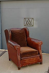 French Club Chair Classic Nailed Wingback Single